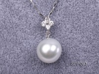 14mm White South Sea Pearl Pendant with 925 Sterling Silver and Zircon