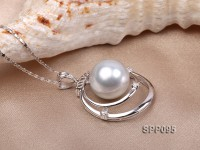 13.5mm White South Sea Pearl Pendant with 925 Sterling Silver and Zircon
