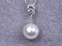 14.3mm White South Sea Pearl Pendant with 925 Sterling Silver and Zircon