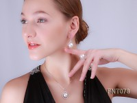 12.5mm White Round Freshwater Pearl Pendant, Ring and Earrings Set