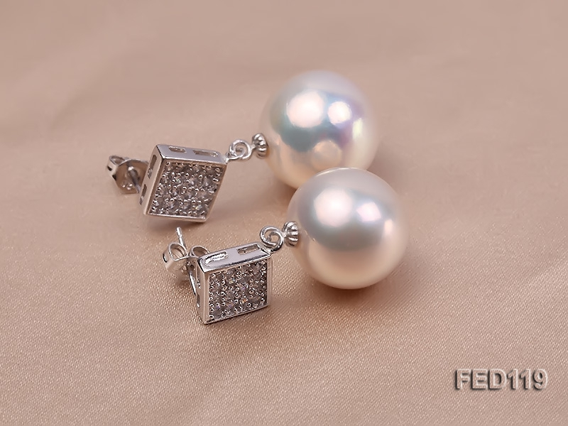15mm White Round Edison Pearl Earring