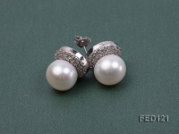 12mm White Round Freshwater Pearl Earring