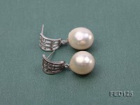 12×13.5mm White Drop-shaped Freshwater Pearl Earring