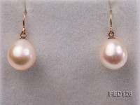 11.5×13.5mm White Drop-shaped Freshwater Pearl Earring