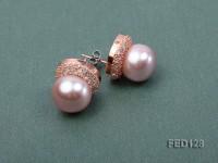 12mm Lavender Flat Freshwater Pearl Earring