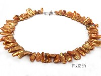 Classic 9x20mm Golden Brown Baroque Freshwater Pearl Necklace