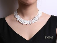 Classic 8×25-9x25mm White Freshwater Pearl Sticks Necklace
