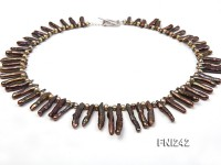 Classic Brown Stick-shaped and Round Freshwater Pearl Necklace