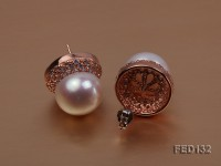 12mm White Flat Freshwater Pearl Earring