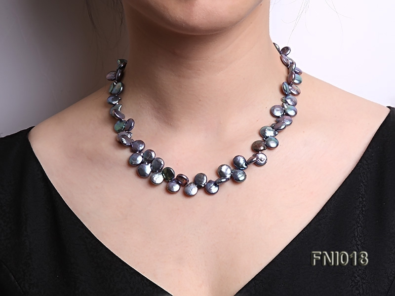 Classic 9.5-10mm Black Button Freshwater Pearl Necklace