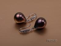 11×13.5mm Purple Drop-shaped Freshwater Pearl Earring