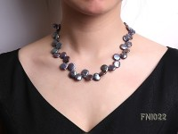 Classic 12.5x14mm Black Button Freshwater Pearl Necklace