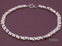 Classic 10×15.5mm White Cross-shaped Freshwater Pearl Necklace