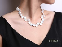 Classic 12×16-13×16.5mm White Button-shaped Freshwater Pearl Necklace