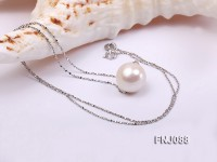 Silver Chain Necklace with a 12mm White Round Freshwater Pearl Pendant