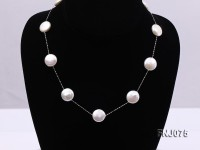 14×14.5mm White Button Pearl Station Necklace with a Gold Chain