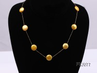 12.5mm Golden Button Pearl Station Necklace with a Gold Chain