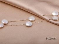 11.5mm White Button Pearl Station Necklace with a Gold Chain