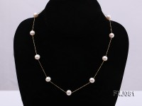 8mm White Pearl Station Necklace with a Gold Chain