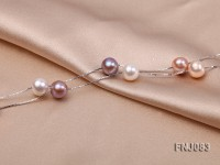 7.5mm Multi-color Pearl Station Necklace with a Gold Chain