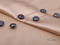 11mm Black Button Pearl Station Necklace with a Gold Chain