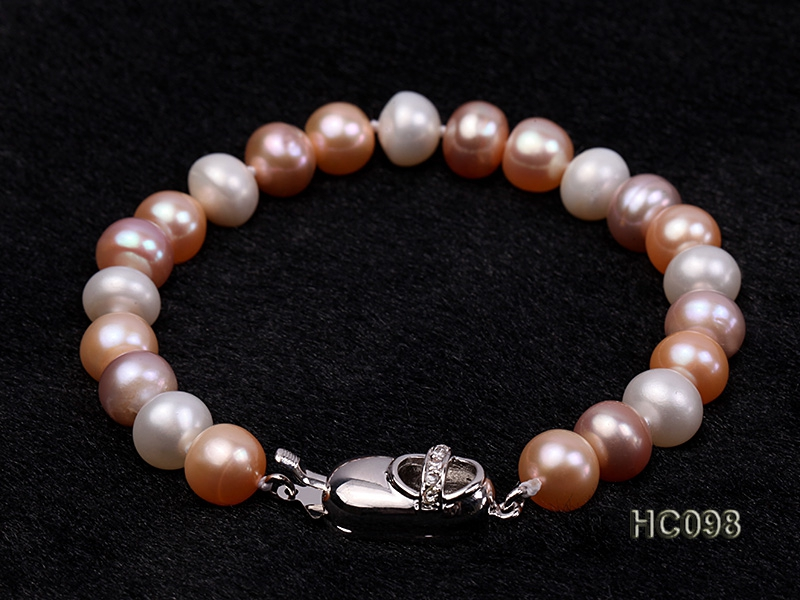 8-9mm white pink and lavender flat freshwater pearl bracelet
