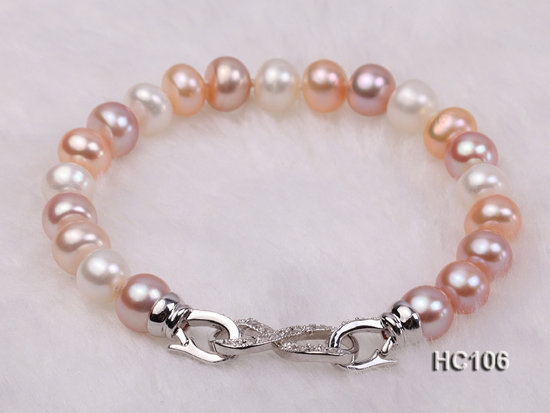 8-9mm colorful round freshwater pearl bracelet