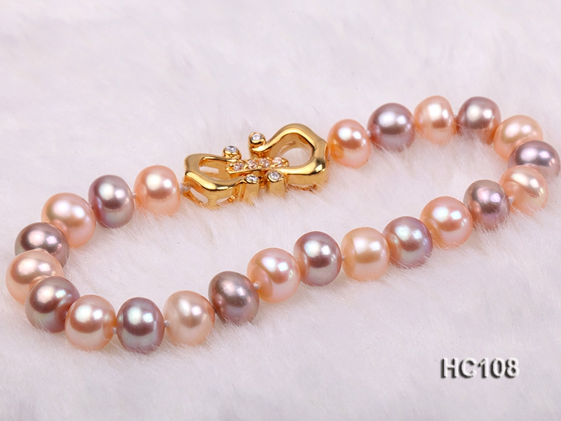 8-9mm flat colorful freshwater pearl bracelet