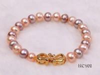 8-9mm flat colorful freshwater pearl bracelet