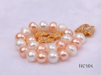 8-9mm white pink and lavender freshwater pearl bracelet