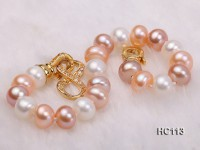 8-9mm flat white pink and lavender freshwater pearl bracelet