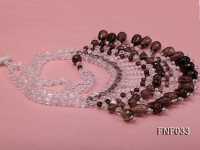 Fashionable Rock Crystal Quartz and Tea-colored Crystal Quartz Necklace