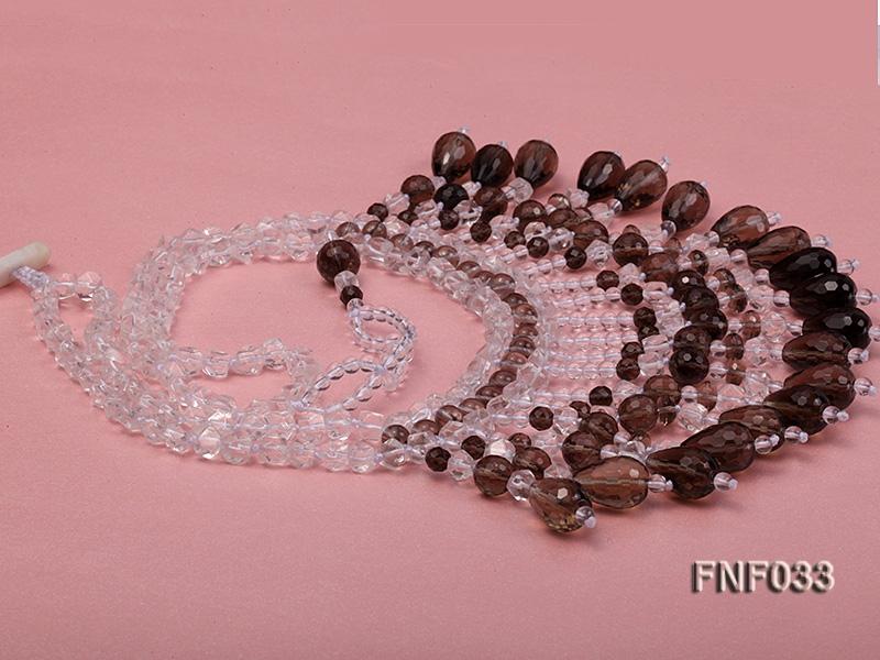 Fashionable Rock Crystal Quartz and Tea-colored Crystal Quartz Necklace