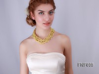 Five-strand 6x8mm Yellow Freshwater Pearl Necklace