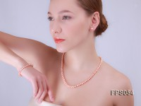 5-6mm AA Pink Flat Freshwater Pearl Necklace, Bracelet and Stud Earrings Set