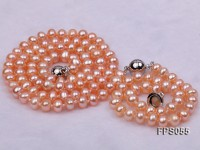 5-6mm AA Pink Flat Freshwater Pearl Necklace and Bracelet Set