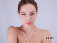 5-6mm AA Pink Flat Freshwater Pearl Necklace and Stud Earrings Set