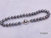 5-6mm AA Black Flat Freshwater Pearl Necklace, Bracelet and Stud Earrings Set