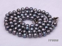 5-6mm AA Black Flat Freshwater Pearl Necklace and Stud Earrings Set
