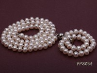 6-7mm AA White Flat Freshwater Pearl Necklace and Bracelet Set