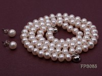 6-7mm AA White Flat Freshwater Pearl Necklace and Stud Earrings Set