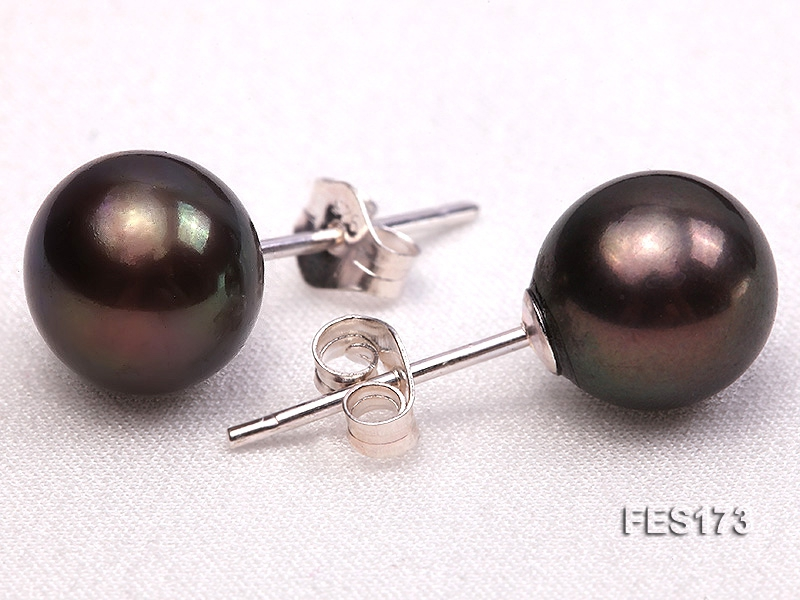 8mm Brown Round Freshwater Pearl Earring