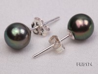 7mm Peacock Green Round Freshwater Pearl Earring
