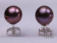 7mm Purple Round Freshwater Pearl Earring