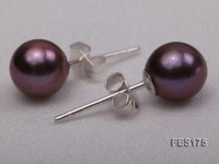 7mm Purple Round Freshwater Pearl Earring