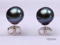 7mm Black Round Freshwater Pearl Earring