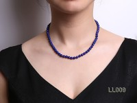 6mm Azure Blue Round Lapis Lazuli Beads Necklace