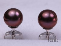 6mm Purple Round Freshwater Pearl Earring