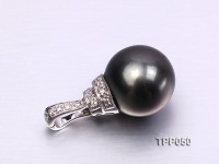 13mm Perfect Round Tahitian Pearl Pendant with 14k White Gold