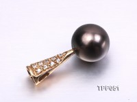Exquisite Flawless 11.5mm Tahitian Pearl Pendant with 14k Gold